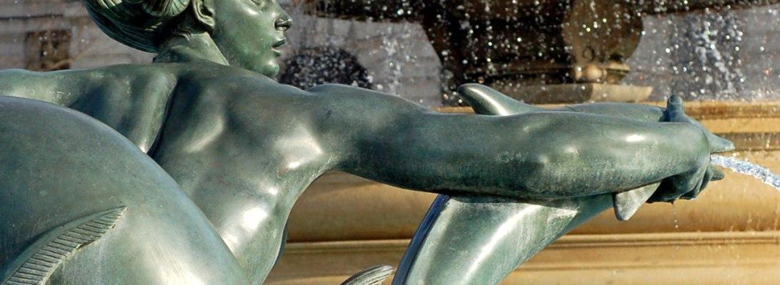 mythologcial fountain statue